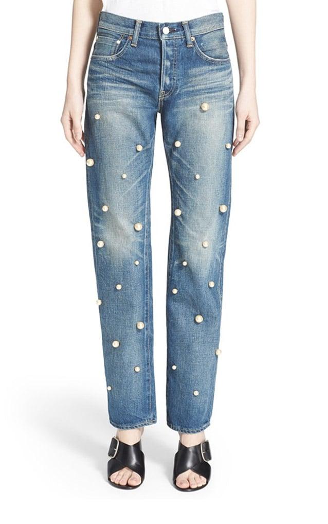 Tu es mon TRÉSOR Faux Pearl Embellished Jeans ($785)