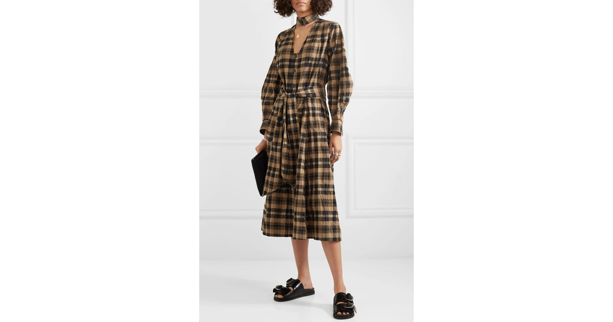 Ganni Belted Checked Seersucker Midi Dress 16 Essentials Your