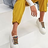 Superga 2790 White Chunky Trainers with Rainbow Laces