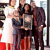 Kevin Hart and His Family at Hollywood Walk of Fame Ceremony