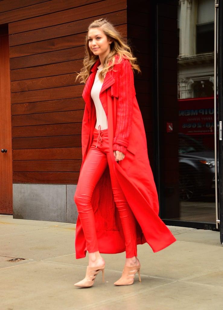 Gigi hadid 39 s red pants and sweater at fashion week 2016 for Gigi hadid fashion week