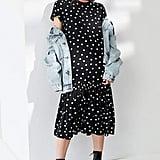 Urban Outfitters Polka Dot Peplum Midi T-Shirt Dress