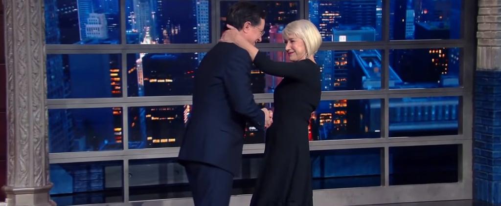 Helen Mirren Kisses Stephen Colbert on The Late Show | Video