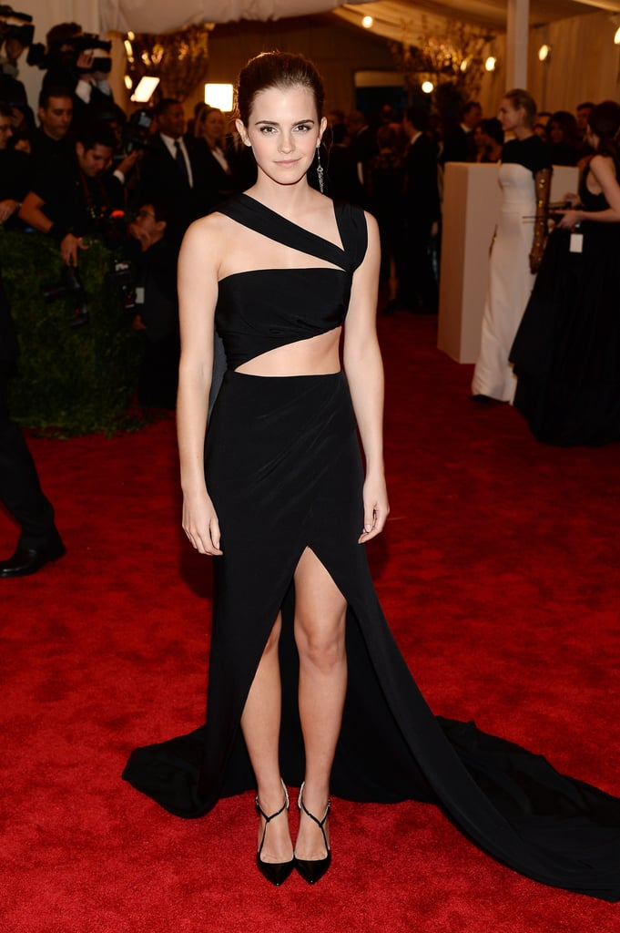 Emma Watson showed quite a bit of skin in her sexy black Prabal Gurung dress.
