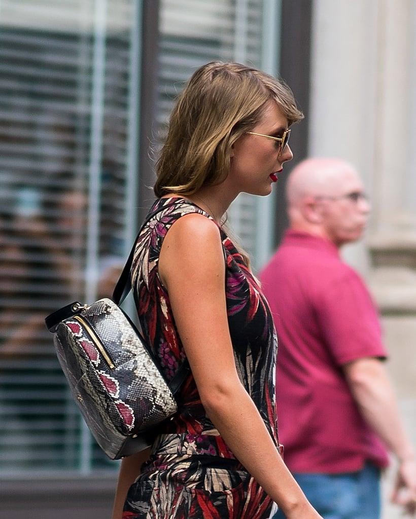 Taylor Swift's Snakeskin Backpack July 2018
