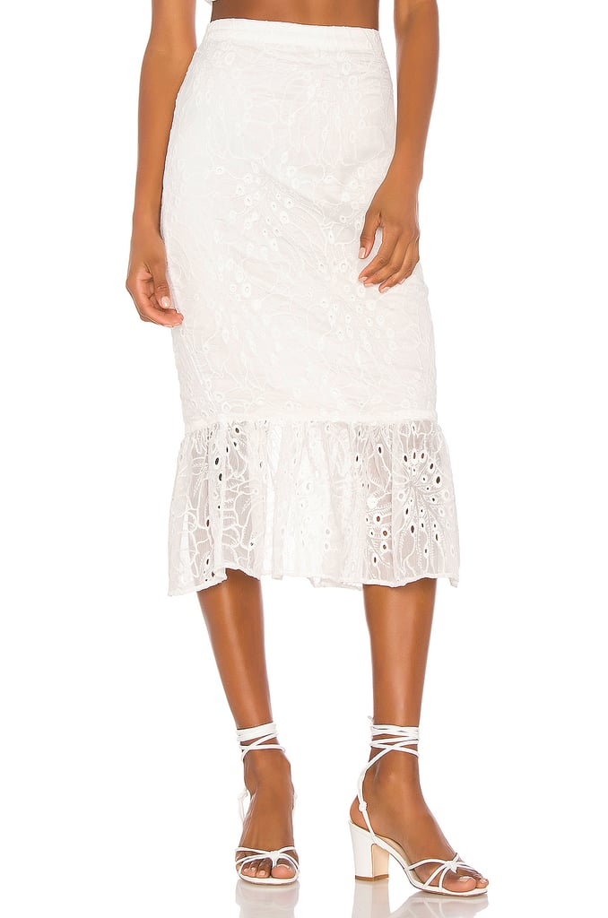 Song of Style Tala Midi Skirt in White from Revolve.com