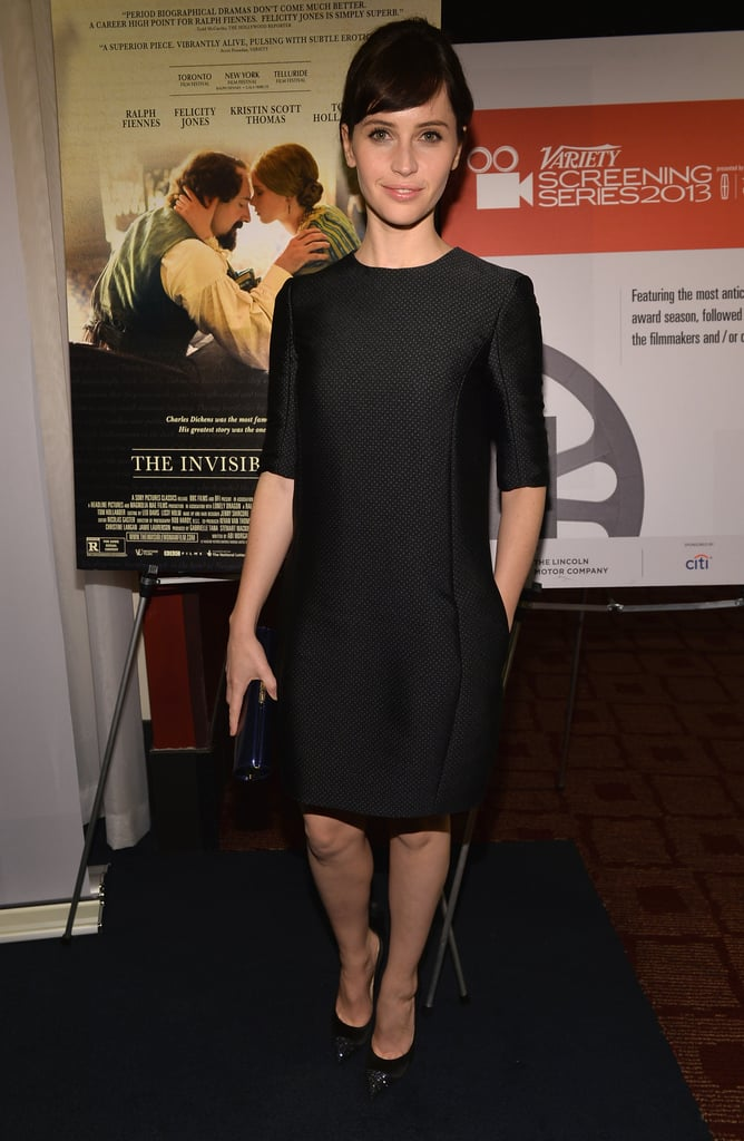 Felicity Jones wore a polka-dot serge Dior dress to the Variety Screening Series of The Invisible Woman.