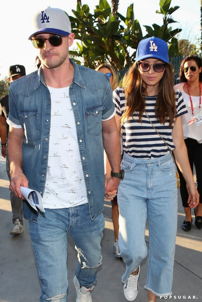 Just a few days after their 5th wedding anniversary, Justin Timberlake and Jessica Biel celebrated by treating themselves to a fun-filled date night. On Wednesday, the couple, who are parents to two-year-old Silas, stepped out at Dodger Stadium in LA to watch the Astros take on the Dodgers for the World Series game two. Aside from showing sweet PDA as they walked hand in hand, they also repped the home team by wearing similar Dodgers baseball caps. Justin even threw it back to 2001 by sporting yet another jean-on-jean outfit. Hopefully, the couple will make yet another cute sports appearance when the singer performs at the Super Bowl next year.       Related:                                                                                                           61 Photos of Justin Timberlake and Jessica Biel's Love Through the Years