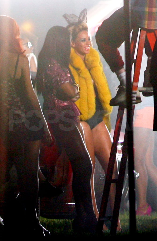 """Beyoncé Knowles and Kelly Rowland film the video for """"Party."""""""