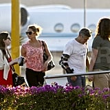 George Clooney and Stacy Keibler leaving Mexico.