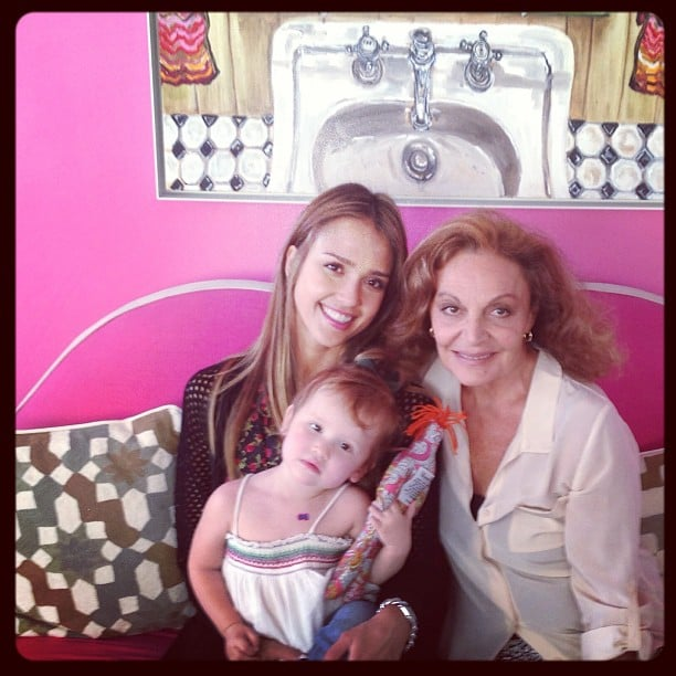 Jessica Alba and her daughter Haven got some fun face time with designer Diane von Furstenberg. Source: Instagram user jessicaalba