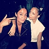Nicole Richie and a friend sported matching classic black and white ensembles. Source: Instagram user nicolerichie