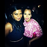 Mindy Kaling snapped a picture with Kerry Washington. Source: Instagram user mindykaling