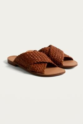 Urban Outfitters Solstice Woven Crossed Strap Sandals