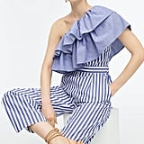 J.Crew Stripe Ruffle One-Shoulder Jumpsuit
