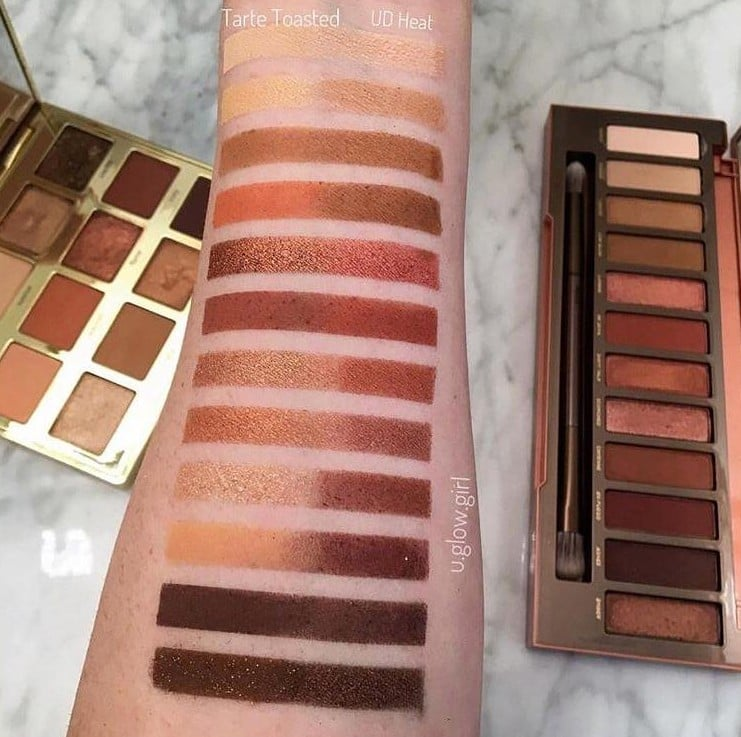 Tarte Toasted Palette and Naked Heat Swatched Side by Side