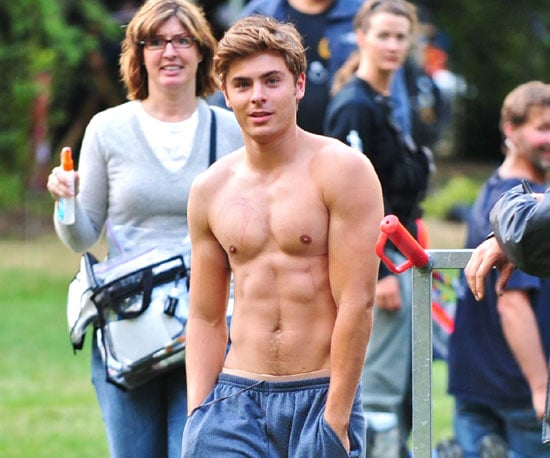 Slide Photo of Shirtless Zac Efron Filming The Death and Life of Charlie St Cloud