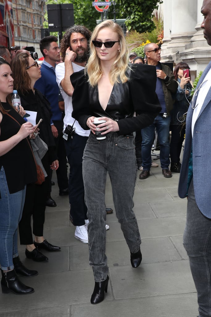 Sophie Turner in a Black Top With Puff Sleeves in 2019