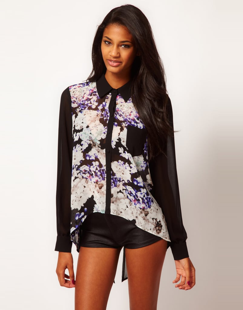 A silky top like this Lipsy Dipped Hem Floral Shirt ($66) means you can wear your florals all year-round — we love the black contrast and moody purple palette for pairing with slim black trousers at the office and beyond.