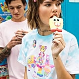 Lisa Frank x SpongeBob Girls Gumball Knotted Tee ($25) and Lisa Frank x SpongeBob Guys Pink Pocket Tee ($23)