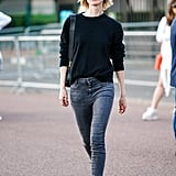 Balance Acid-Wash Skinnies With a Neutral Sweater and Multicolor Sandals