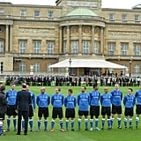 Prince William welcomed the players ahead of the match.