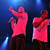 Jay Z and Justin Timberlake performed at the Rose Bowl.