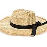 Something Navy Frayed Edge Straw Boater Hat
