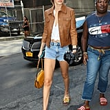 Gigi Hadid Wears Brown Leather Jacket