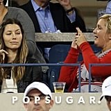 Jessica Biel posed for a funny picture in the stands with her friend.