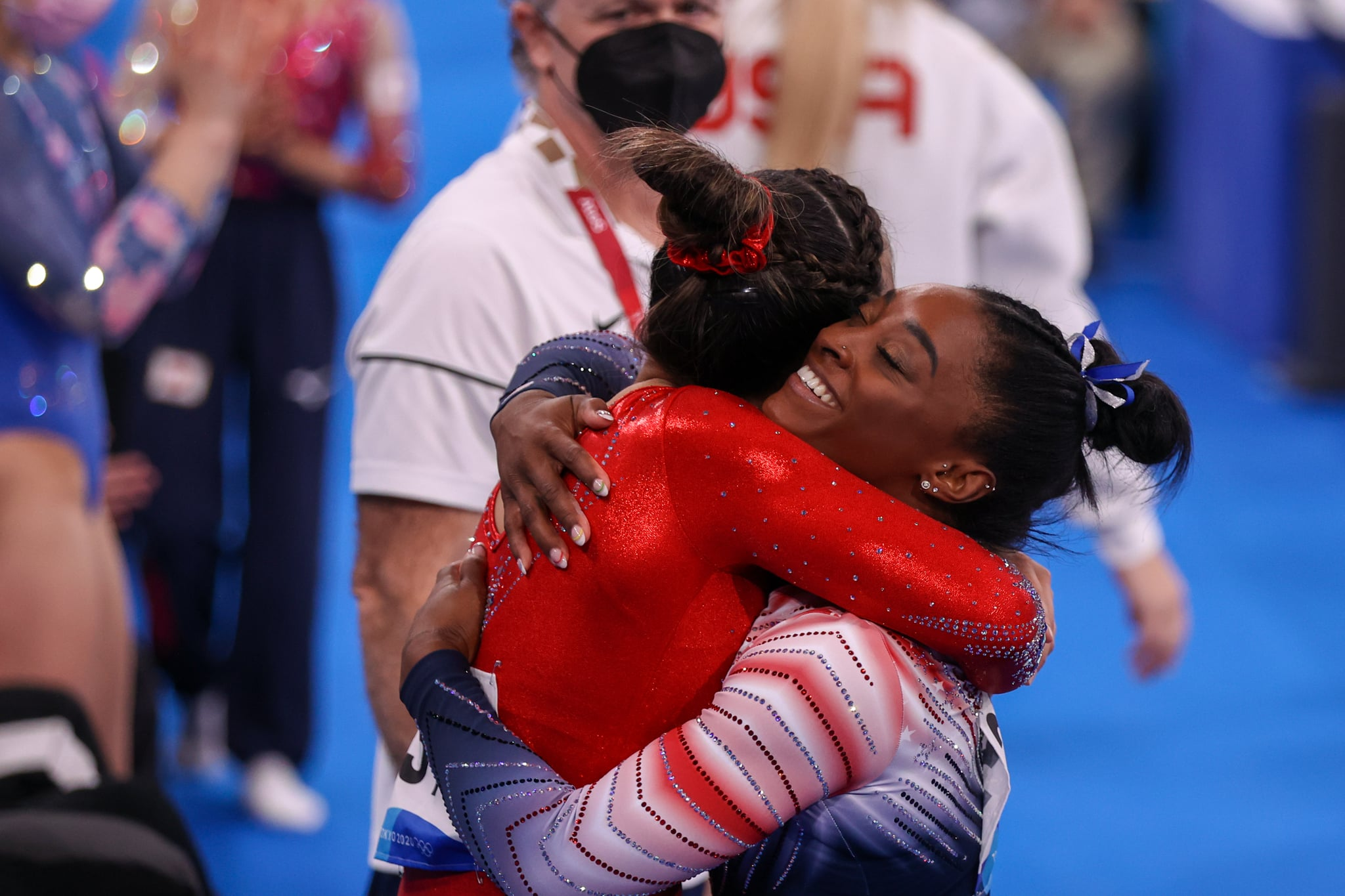 TOKYO, JAPAN - AUGUST 3: Sunisa Lee of Team United States , Simone Biles of Team United States competes during the Women's Balance Beam Final on day eleven of the Tokyo 2020 Olympic Games at Ariake Gymnastics Centre on August 3, 2021 in Tokyo, Japan (Photo by Iris van den Broek/BSR Agency/Getty Images)