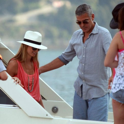 George Clooney and Stacy Keibler Boating in Lake Como