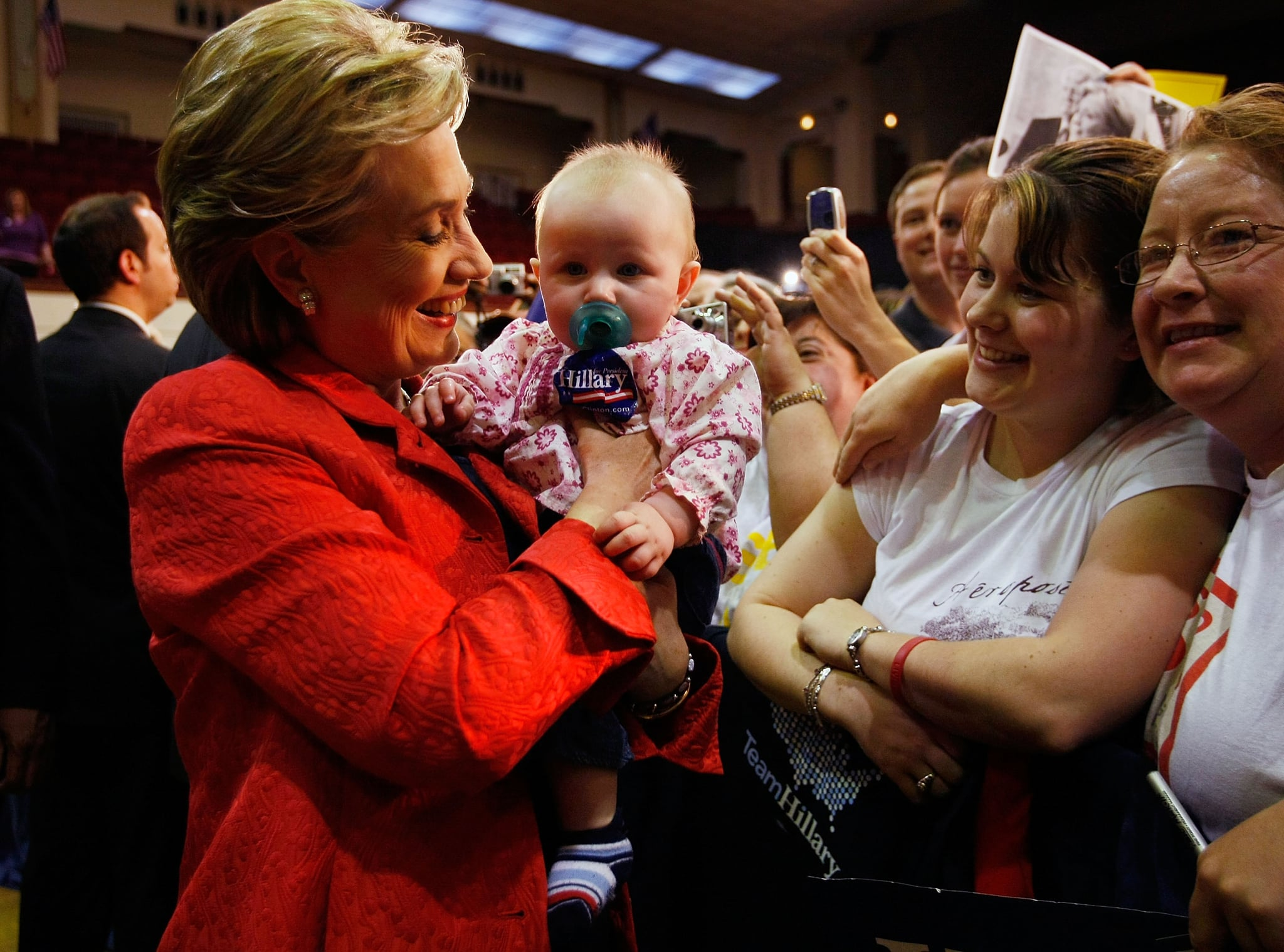 During a stop in Harrisburg, PA, Hillary Clinton picked up a young supporter in 2004.
