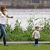 Gisele chased after Benjamin along the waterfront.
