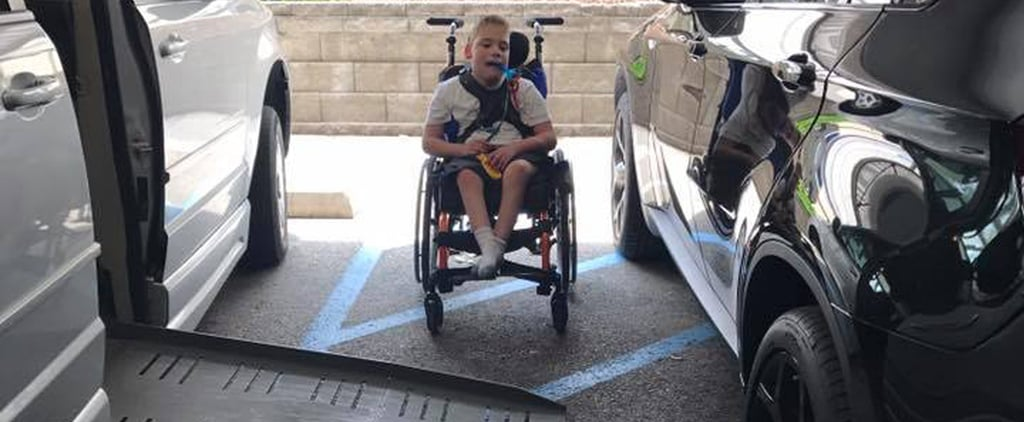 Boy's Wheelchair Ramp Blocked by Car Parked on Blue Lines