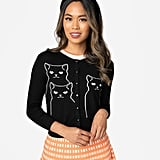 Black Knit Salem Grumpy Kitty Button Up Crop Cardigan