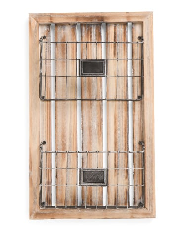 Wood And Metal Wall Magazine Rack ($25)