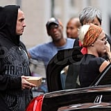 Carey Hart with his girls in NYC.