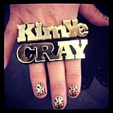 "Kim Kardashian took the Kimye moniker to a whole new level with a personalized ""KimYe"" ring.  Source: Instagram user kimkardashian"