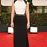 Claire Danes stepped out onto the red carpet in a black and white J. Mendel gown, complete with sequin embellishments at the shoulders and waist.