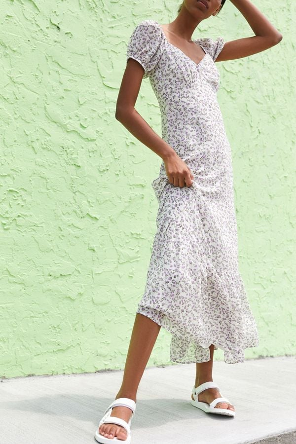 UO Floral Puff Sleeve Maxi Dress