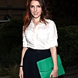 Anna Kendrick carried a bright green clutch to Coach's Summer Party on the High Line in NYC.