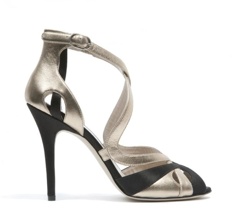 Monique Lhuillier Black Satin/Gold Gloss Lam Sandal ($895)