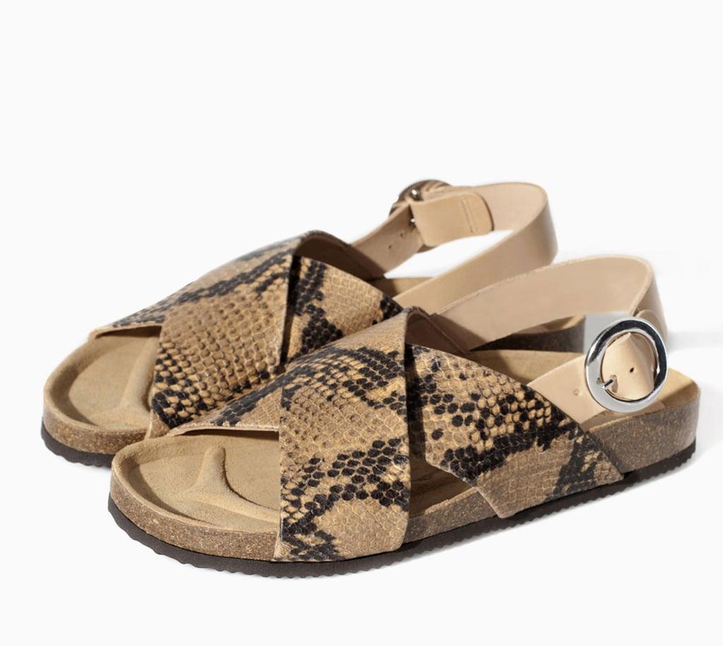 decd0932ce50 Zara tan snakeskin cork double-strap flat sandals ( 100)