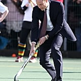 William played field hockey when he visited the Donald Dewar Leisure Centre in April 2013.