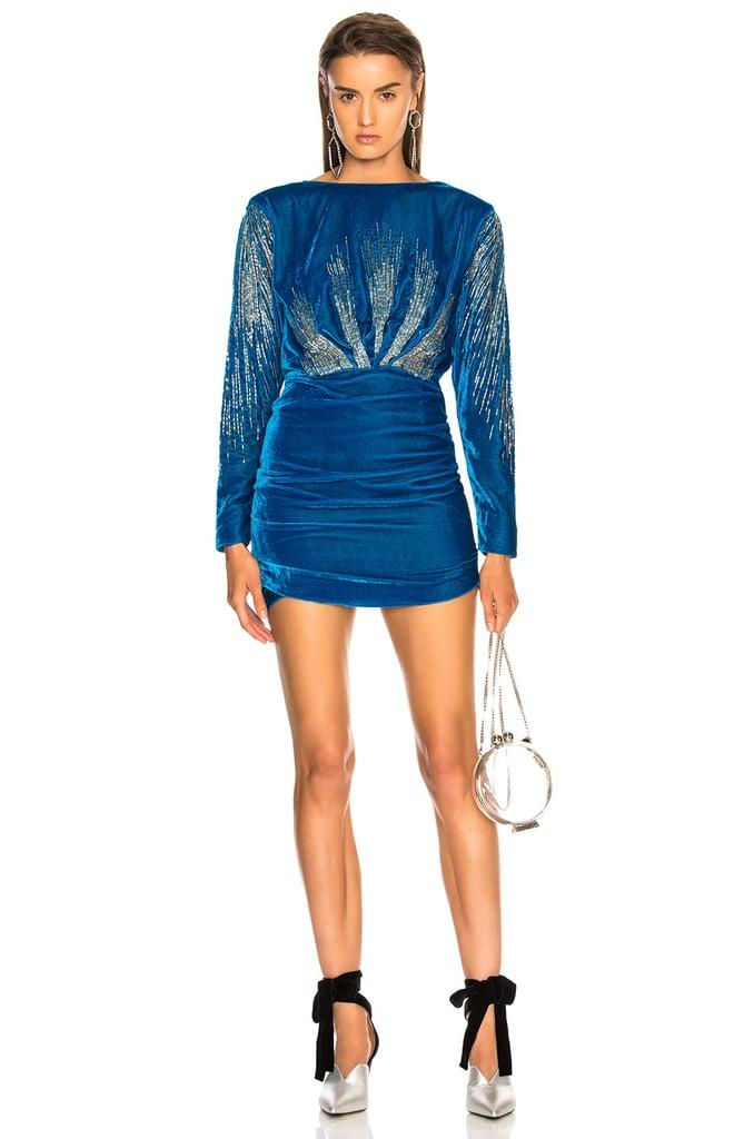 ATTICO Carolina Embroidered Velvet Dress