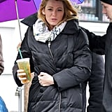 Blake Lively was on the set of Gossip Girl.