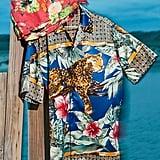 UO Jungle Print Satin Short Sleeve Button-Down Shirt