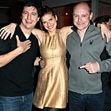 Ken Marino, Lake Bell, and Rob Corddry took a photo together at a dinner for In a World at Sundance on Sunday.