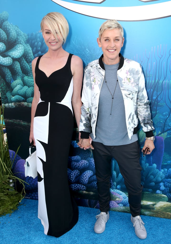 Ellen DeGeneres had the loving support of wife Portia de Rossi at the LA premiere of her new movie, Finding Dory, on Wednesday evening. In addition to flashing their bright smiles for the cameras, the pair — who have been together for over 10 years — put on a loving display, holding hands as they walked down the red carpet. The last time the couple made a public appearance together was at the Saint Laurent fashion show in LA back in February, though Portia often takes to social media to share sweet photos of the two. Read on for more cute pictures, then check out 18 power couples who are slaying (or will soon slay) same-sex marriage.
